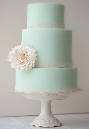Mint green wedding cake from WeddingBells.
